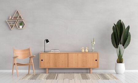 Wood sideboard and chair in living room for mockup, 3D rendering