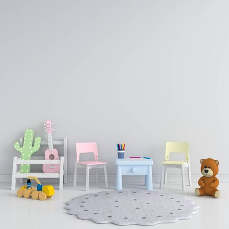 Table and chair in gray children room for mockup, 3D rendering
