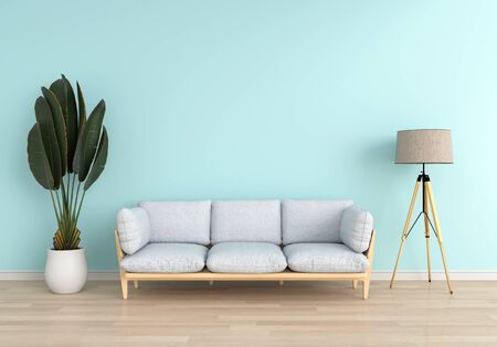 Gray sofa and lamp in light blue living room, 3D rendering