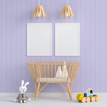 Two photo frame for mockup in child bedroom Stockfoto