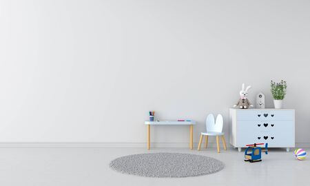 Blue table and chair in white child room interior, 3D rendering