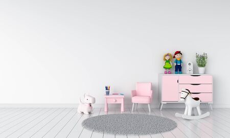 Blue table and sofa in white child room interior, 3D rendering Stockfoto