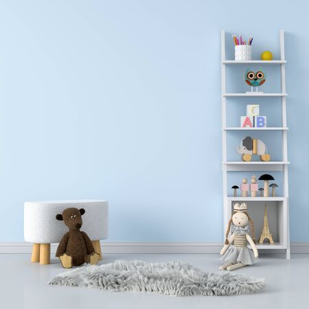 Bench  and doll in blue children room interior for mockup, 3D rendering Stockfoto