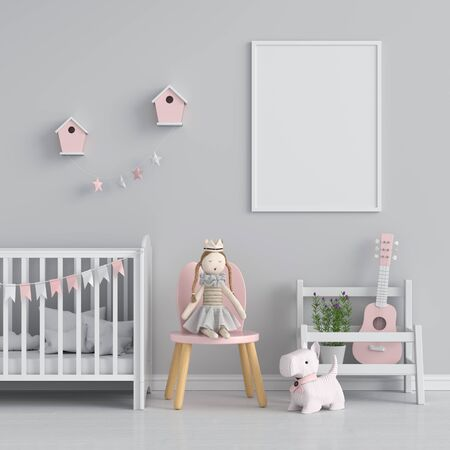 Empty photo frame for mockup on wall in kid bedroom, 3D rendering