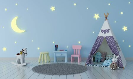Teepee in blue children room interior at night for mockup, 3D rendering