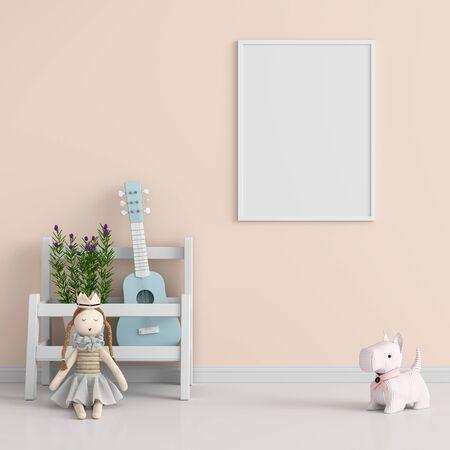 Blank photo frame for mockup in child room, 3D rendering Stockfoto