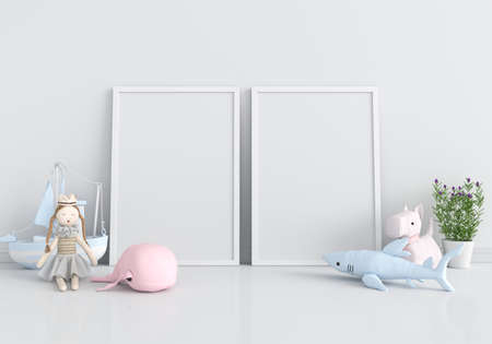 Two blank photo frame for mockup and doll on floor in child room, 3D rendering
