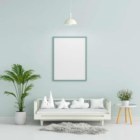 Blank photo frame for mockup in green children room, 3D rendering
