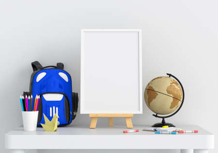 Blank photo frame for mockup on table in child room, 3D rendering