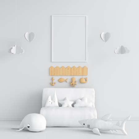 Blank photo frame for mockup in white children room, 3D rendering