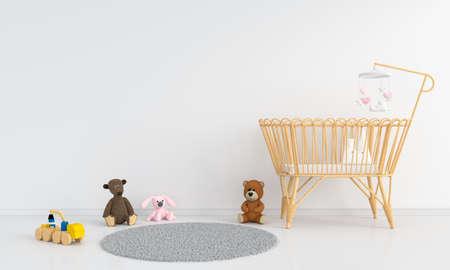 White children bedroom for mockup, 3D rendering