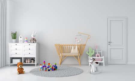 White child bedroom interior for mockup, 3D rendering