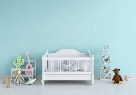 Blue children bedroom interior for mockup, 3D rendering Banque d'images