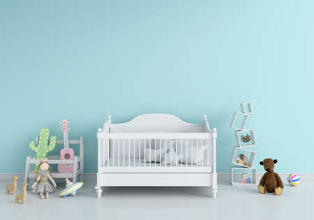 Blue children bedroom interior for mockup, 3D rendering Foto de archivo