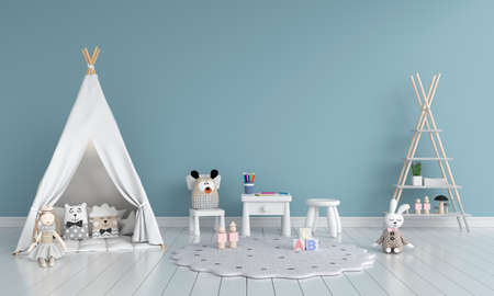 Teepee and table with chair in child room interior for mockup, 3D rendering