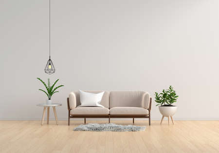 Brown sofa in white living room for mockup,3D rendering 版權商用圖片