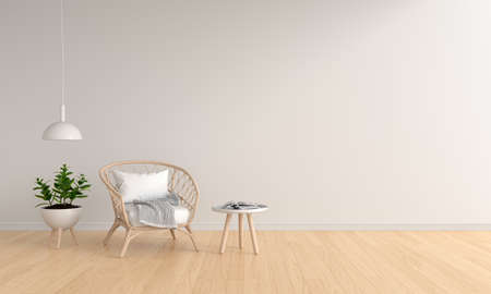 Weave wooden chair in white living room for mockup, 3D rendering