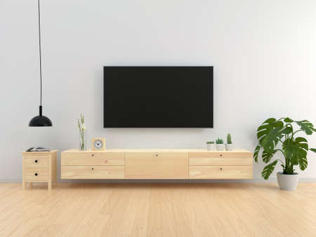 Widescreen TV and sideboard in living room interior, 3D rendering 版權商用圖片