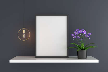 Flower and lamp with frame mockup, 3D rendering