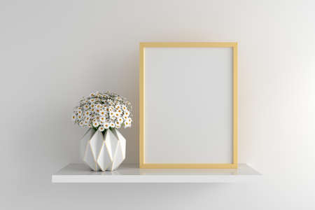 White flower with frame mockup on shelf, 3D rendering