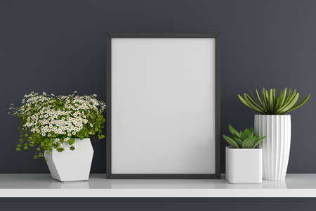 Flower and succulent pot plant with frame mockup on table, 3D rendering