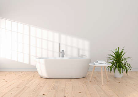 Bathroom interior bathtub for mockup, 3D rendering