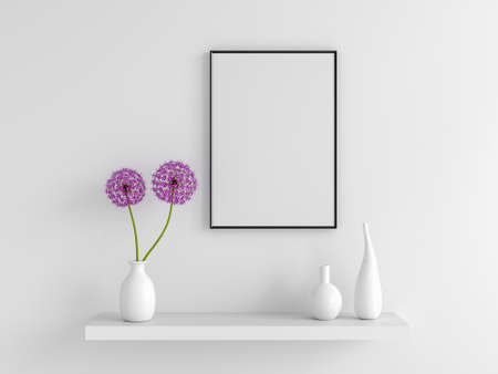 Flower in vase with frame mockup, 3D rendering 版權商用圖片