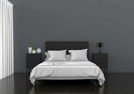 Black bedroom interior for mockup, 3D rendering