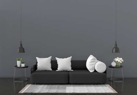 Black sofa in black living room for mockup,3D rendering