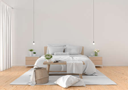 White bedroom interior for mockup, 3D rendering