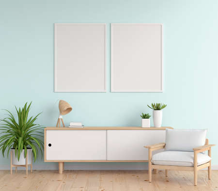 Sideboard in blue living room with picture frame mockup, 3D rendering
