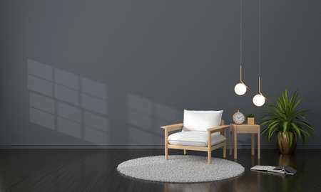 White armchair in black living room for mockup, 3D rendering 版權商用圖片