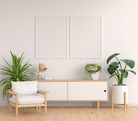 Sideboard in white living room with picture frame mockup, 3D rendering