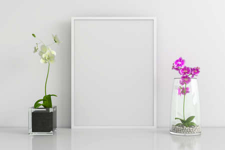 Flower with frame mockup, 3D rendering 版權商用圖片