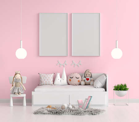 Pink child bedroom with picture frame mockup, 3D rendering 版權商用圖片