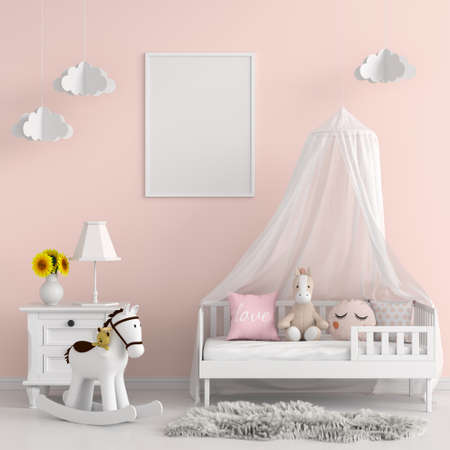 Child bedroom for mockup, 3D rendering