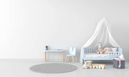 White child bedroom interior for mockup, 3D rendering