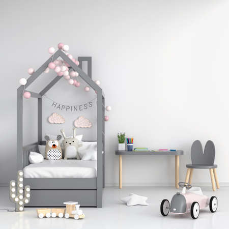 White children bedroom for mockup, 3D rendering
