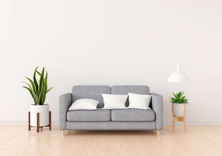 Sofa with green plant in white living room for mockup,3D rendering