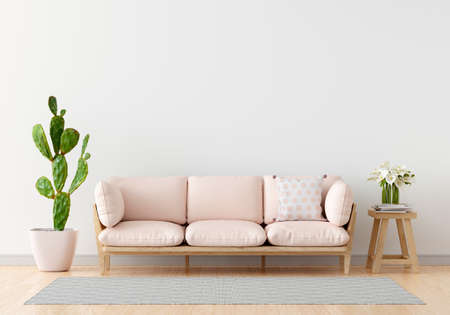 Pink sofa in white living room for mockup,3D rendering