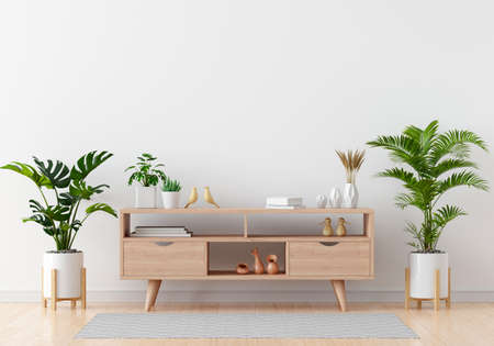 Sideboard with green plant in white living room for mockup, 3D rendering