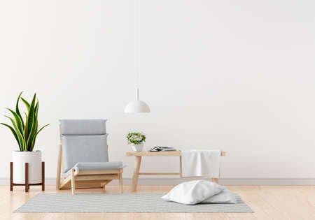 Gray chair and table in white living room with free space for mockup, 3D rendering