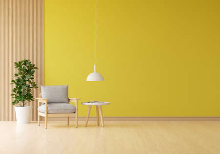 Gray armchair in yellow living room with blank space for mockup, 3D rendering 版權商用圖片