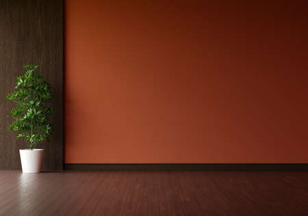 Green plant in brown living room with blank space for mockup, 3D rendering 版權商用圖片