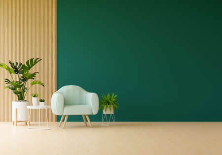 Armchair in green living room with free space for mockup, 3D rendering