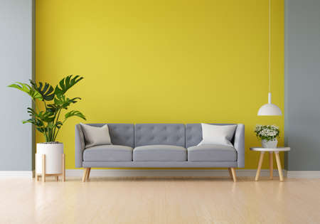 Gray sofa in yellow living room with blank space for mockup, 3D rendering