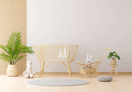 White children room with free space for mockup, 3D rendering 版權商用圖片