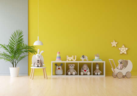 Doll and toy in yellow children room for mockup, 3D rendering