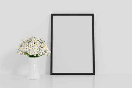 White flower with picture frame mockup, 3D rendering