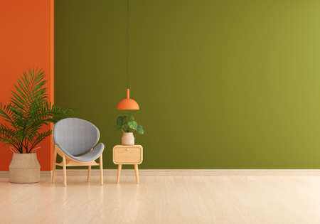 Gray chair in green living room with free space for mockup, 3D rendering